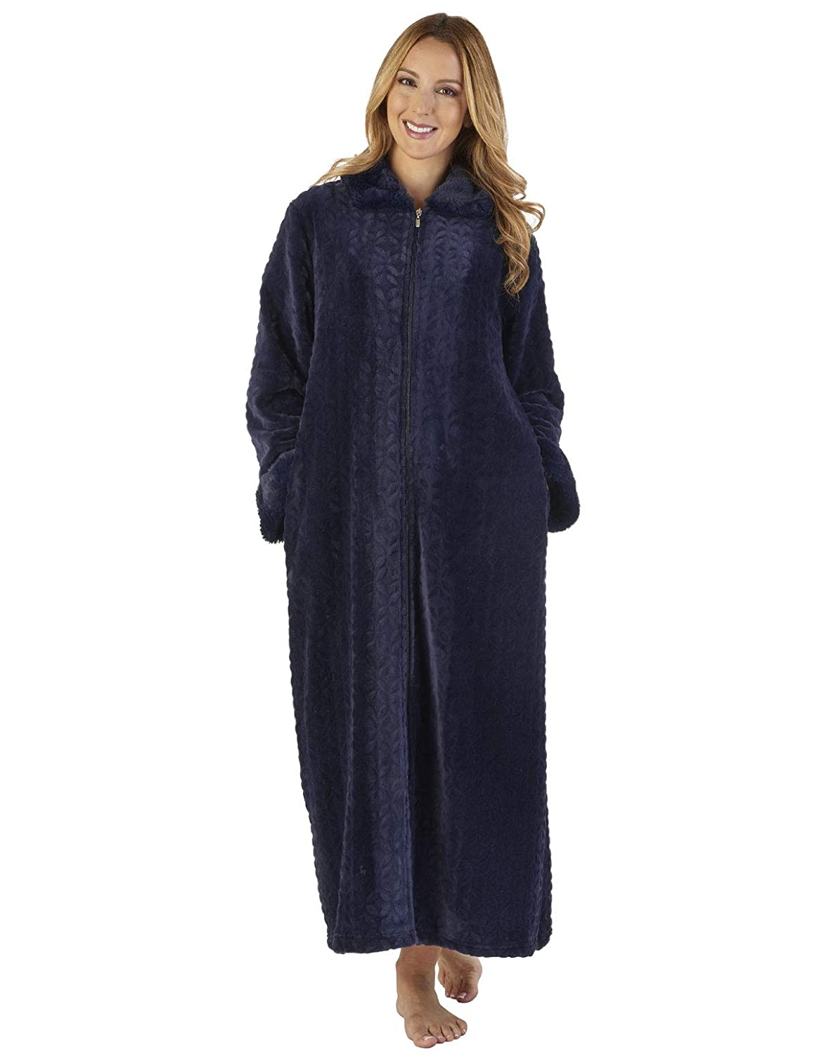 TALLA XL. Slenderella HC2342 Women's Faux Collar Robe Loungewear Bath Dressing Gown