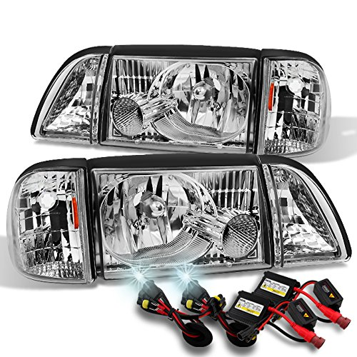For Mustang Clear Headlights w/Corner & Parking Lights 6Pcs Complete Replacement Set + 6000K HID Kit ()