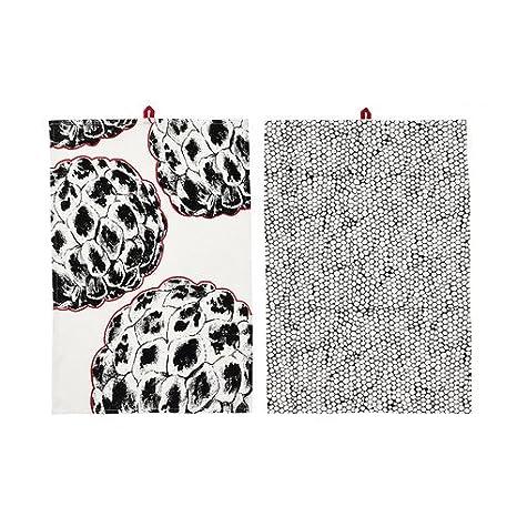 IKEA VANJA - Toalla de té, varios diseños blanco/negro/2 pack/2 pack - 50 x 70 cm: Amazon.es: Hogar