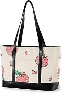 Large Woman Laptop Tote Bag - Cute Apple Pattern Canvas Shoulder Tote Bag Fit 15.6 Inch Computer Ladies Briefcase for Work School Hiking Trekking