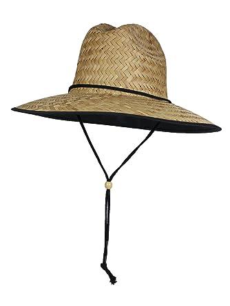 09d2e3325f648d Black Trim SPF 50+ Straw Lifeguard Surfer Sun Hat - Fabric Lining Under Brim
