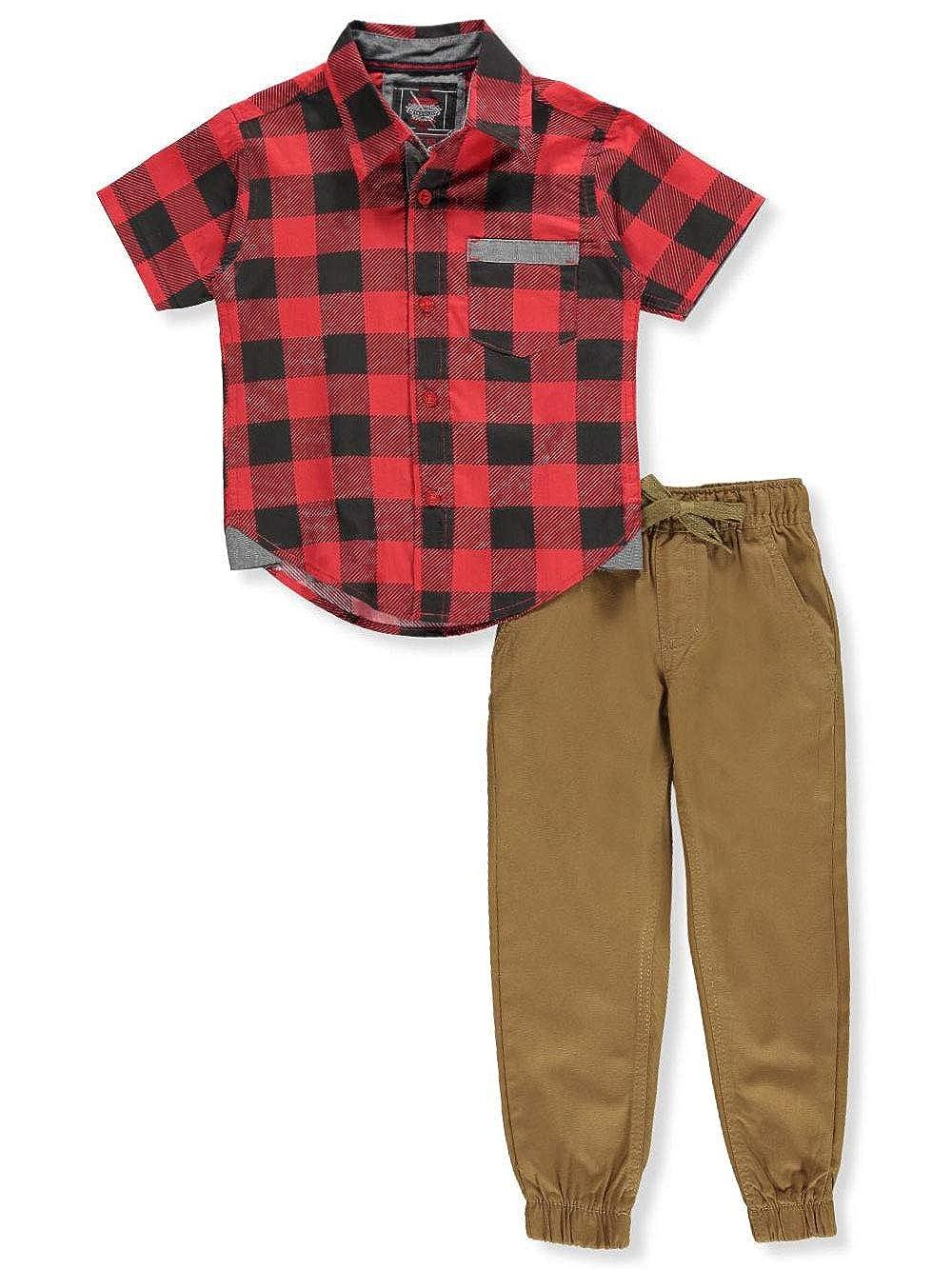 Retro Stitch Boys 2-Piece Pants Set Outfit