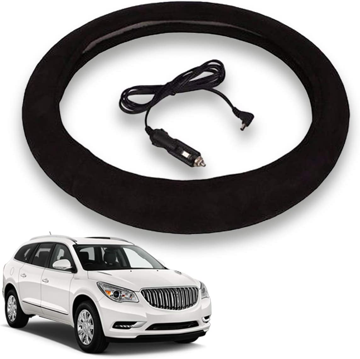 12V Black Warmer Car Steering Heater 15 inch Electrical Wheel Cover VaygWay Heated Steering Wheel Cover