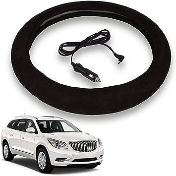 VaygWay Heated Steering Wheel Cover 12V Black Warmer Car Steering Heater 15 inch Electrical Wheel Cover