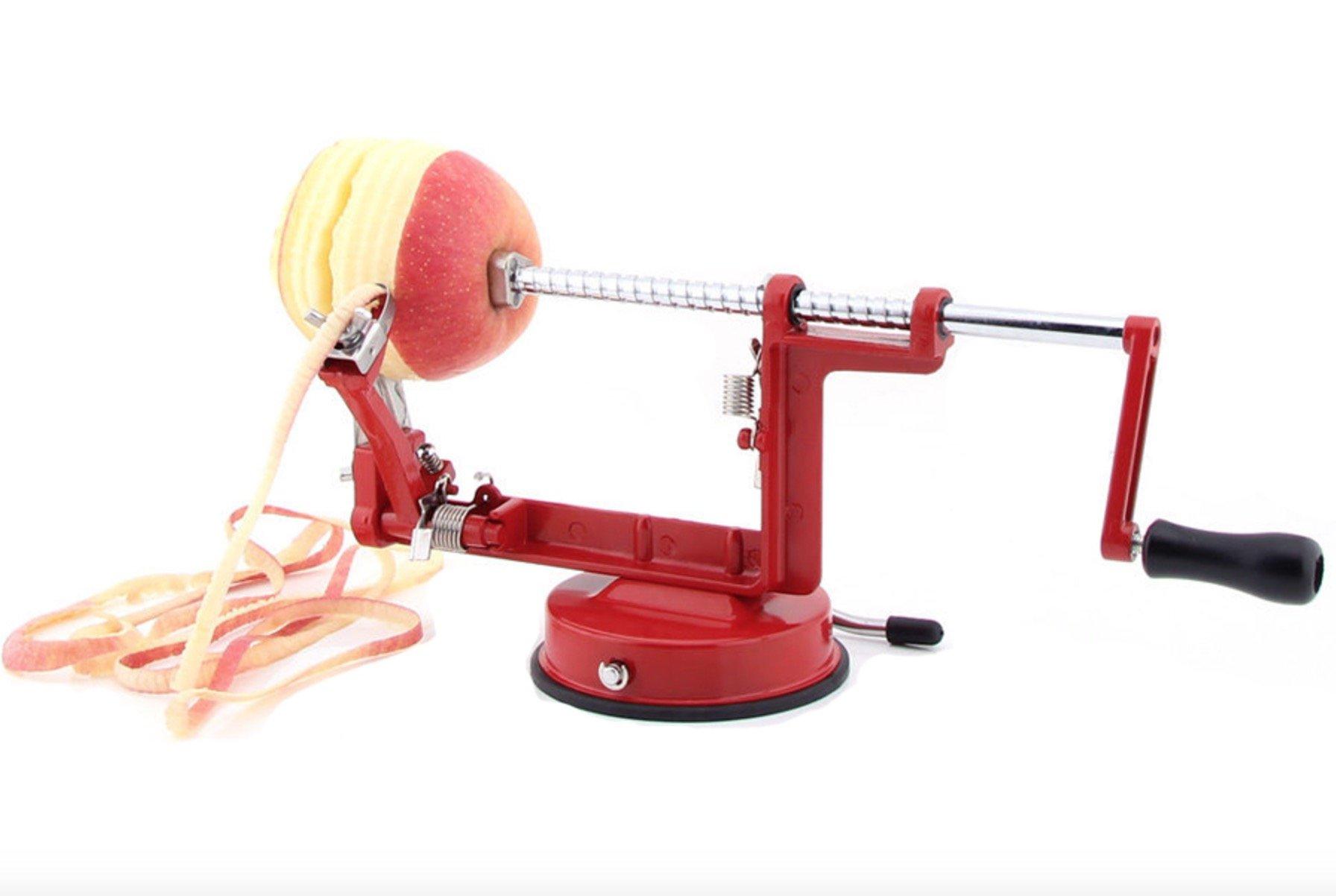 LOYODA Apple Peeler Corer Slicer Machine - Vacuum Suction Base Durable Potato Apples Slicing Coring and Peeling Razor Cast Iron Countertop Stainless Steel Blades - Fruit Veg Dicer Cutter Kitchen Tool