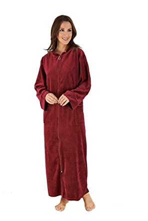 Gaspe by Slenderella Zipped Velour Dressing Gown (Raspberry)(Medium ...