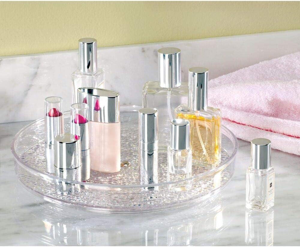 crema Elegante plato giratorio para pinta/ú/ñas mDesign Plataforma giratoria para cosm/éticos productos para el cabello y medicinas Organizador de maquillaje redondo en pl/ástico sin BPA y acero