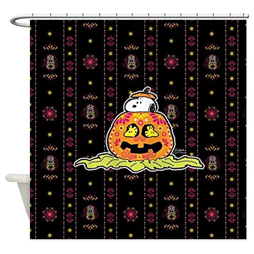 CafePress Day of The Dead Snoopy Pumpkin Decorative Fabric Shower Curtain (69