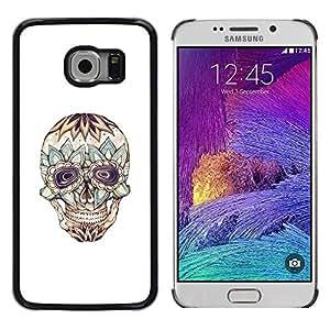 LECELL--Funda protectora / Cubierta / Piel For Samsung Galaxy S6 EDGE SM-G925 -- Floral Crazy Skull Death Tattoo Ink --