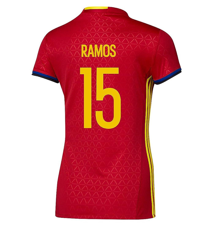 Ramos # 15 Spain Home Soccer Jersey Eufa Euro 2016レディース B01FYJML76 M