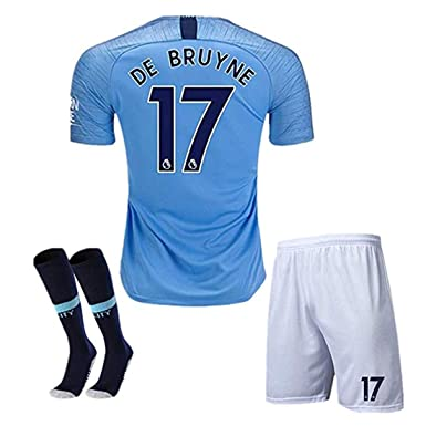 5bae06c1c99  17 DE BRUYNE Manchester City Kids Youth Home Boys Soccer Jersey   Shorts