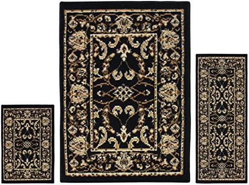 Superior Barringer Collection 3-Piece Rug Set, Attractive Rugs with Jute Backing, Durable and Beautiful Woven Structure, Traditional Bordered Area Rug Set – 2 x 3 , 2 x 5 , and 5 x 7 Rugs, Black