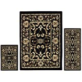 Superior Barringer Collection 3-Piece Rug Set, Attractive Rugs with Jute Backing, Durable and Beautiful Woven Structure, Traditional Bordered Area Rug Set – 2′ x 3′, 2′ x 5′, and 5′ x 7′ Rugs, Black For Sale