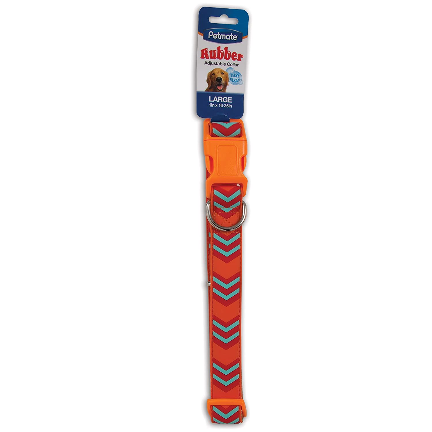 Aspen Pet Products Petmate Rubber Collar, orange Chevron, 1  x 16-26
