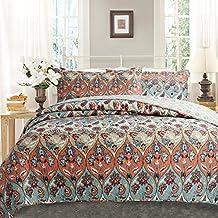 DaDa Bedding 3 Piece Multi Floral Paisley Garden Party Reversible Bedspread Quilt Set, Multicolored, Queen