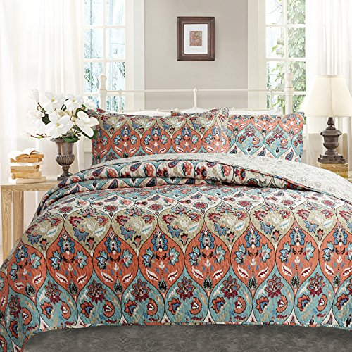 DaDa Bedding Bohemian Floral Paisley Garden Party Reversible Quilted Coverlet Bedspread Set – Bright Vibrant Boho Chic Multi Colorful Teal Blue Salmon Coral Pink Orange Print – Cal King – 3-Pieces