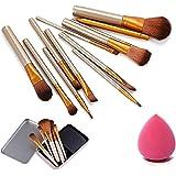 HILARYRHODA Cosmetic Makeup Brush with Puff Sponge - 12 Pieces Set