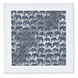 3dRose Uta Naumann Faux Glitter Pattern - Luxury Silver Shiny Chic Animal Elephant Africa Safari Pattern - 12x12 inch quilt square (qs_269042_4)