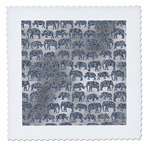 3dRose Uta Naumann Faux Glitter Pattern - Luxury Silver Shiny Chic Animal Elephant Africa Safari Pattern - 12x12 inch quilt square (qs_269042_4) by 3dRose