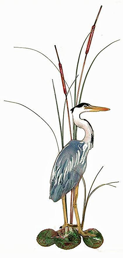 amazon wall art great blue heron metal wall sculpture right
