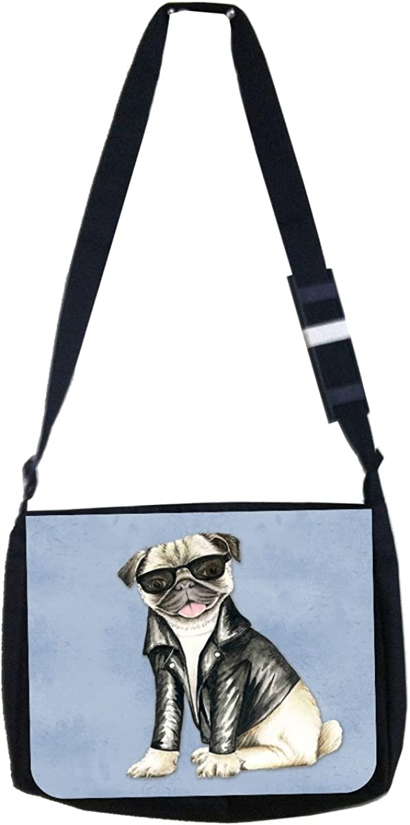 Girls//Boys Black Multi-Purpose Laptop Shoulder Messenger Bag and Small Wire Accessories Case Set Elementary//Middle//High School Hipster Style Pug in Black Shades and Motorcyclers Jacket