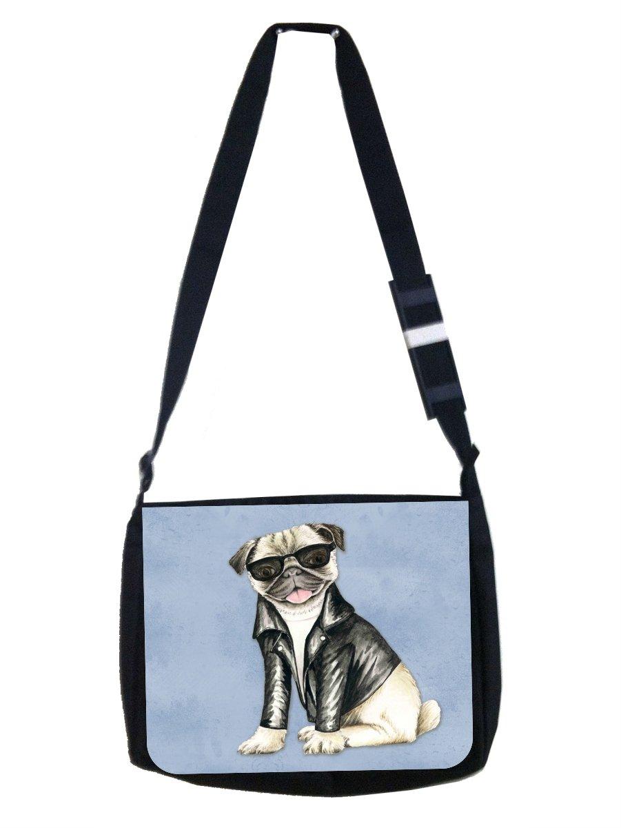 Hipster Style Pug in Black Shades and Motorcycler's Jacket - Girls/Boys Black Multi-Purpose Laptop Shoulder Messenger Bag by Jacks Outlet