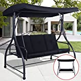 Premium Quality Patio Swing Chair Convertible For 3 Person With Canopy And Firm Cushions Perfect Set For Patio, Garden, Outdoor, Porch And Poolside. (Black)
