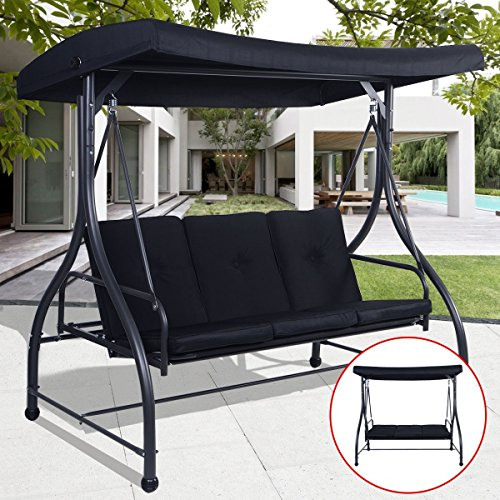 Premium Quality Patio Swing Chair Convertible For 3 Person With Canopy And  Firm Cushions Perfect Set