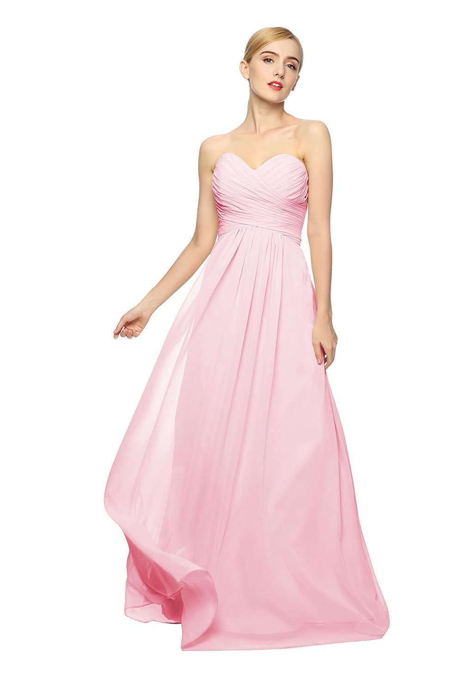 Junai Women's Floor Length Sleeveless Formal Dress Pink US 20