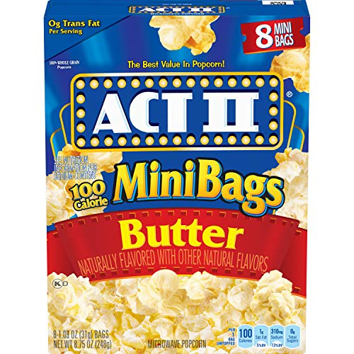 ACT II 100 Calorie Butter Microwave Popcorn, 8-Count 1.1-oz. Mini Bags (Pack of 6)