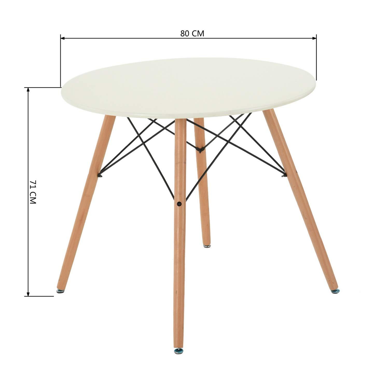 l 80 x l 80 cm G/én/érique Maddie Table a Manger Ronde de 2 a 4 Personnes scandinave Blanc laqu/é et Pieds hetre Massif