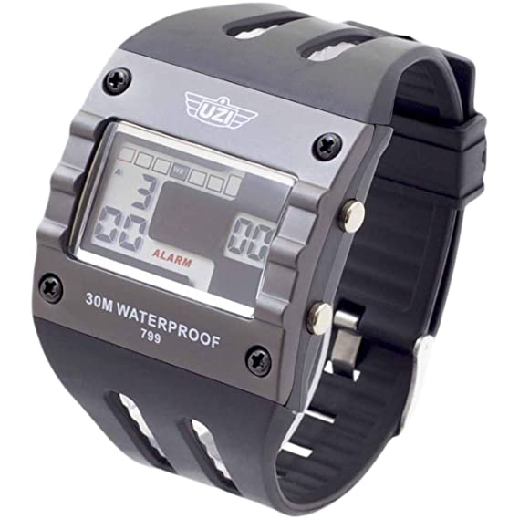 Amazon.com: UZI UZI-W-799 UZI Digital Sports Series Watch with Black Rubber Strap: Cell Phones & Accessories