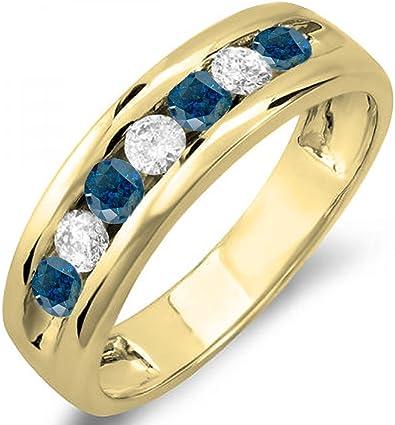 sortija de oro amarillo con diamantes azules y diamantes blancos