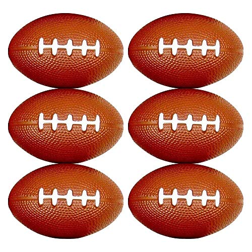 (Tom David Lewis Set of 6 - Mini Football Shaped Stress Relief Colorful Squeezable Toys.)