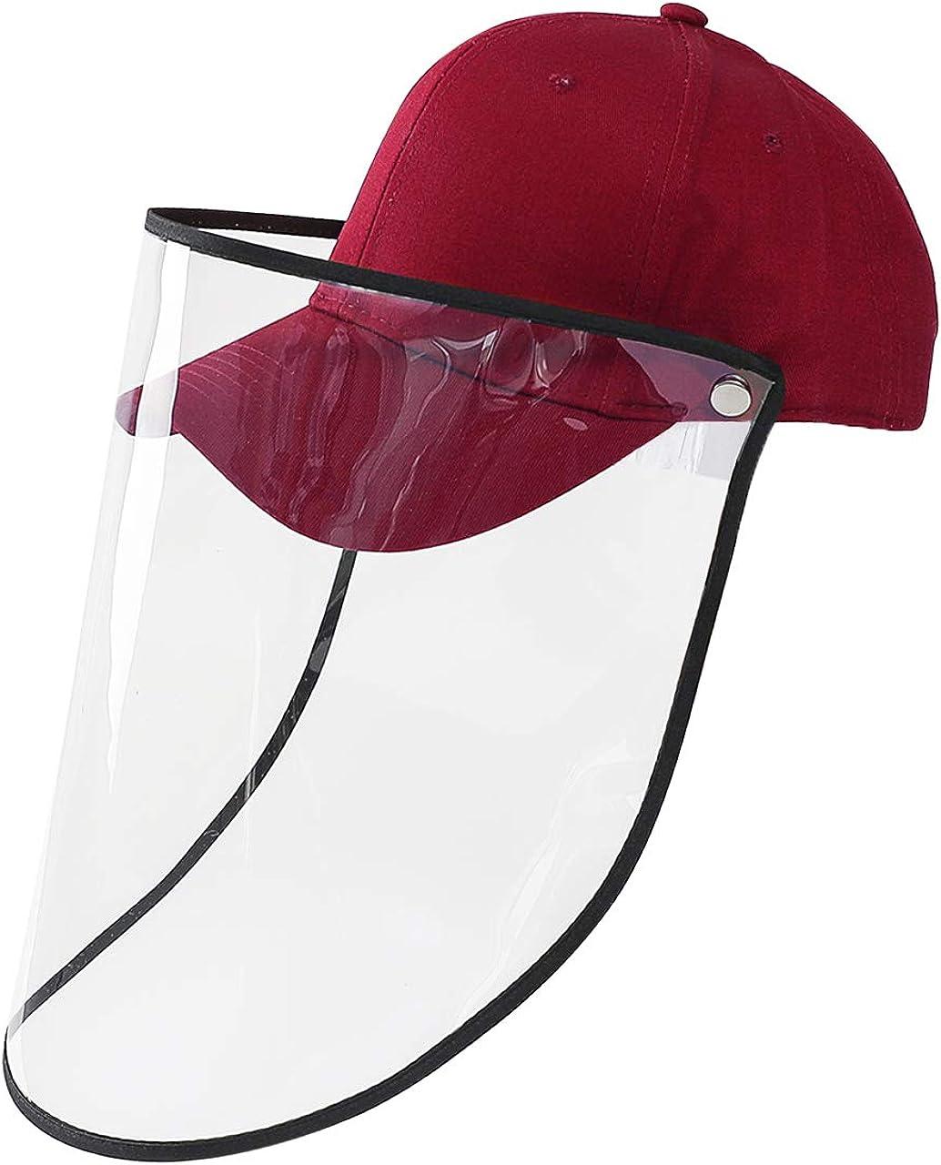 Jovivi Chapeau de Protection Anti-crachats Salive Casquette de Baseball Anti-bu/ée Coupe-Vent Anti-poussi/ère Chapeau avec Protection Faciale Amovible Visi/ère Transparente pour Femmes Hommes