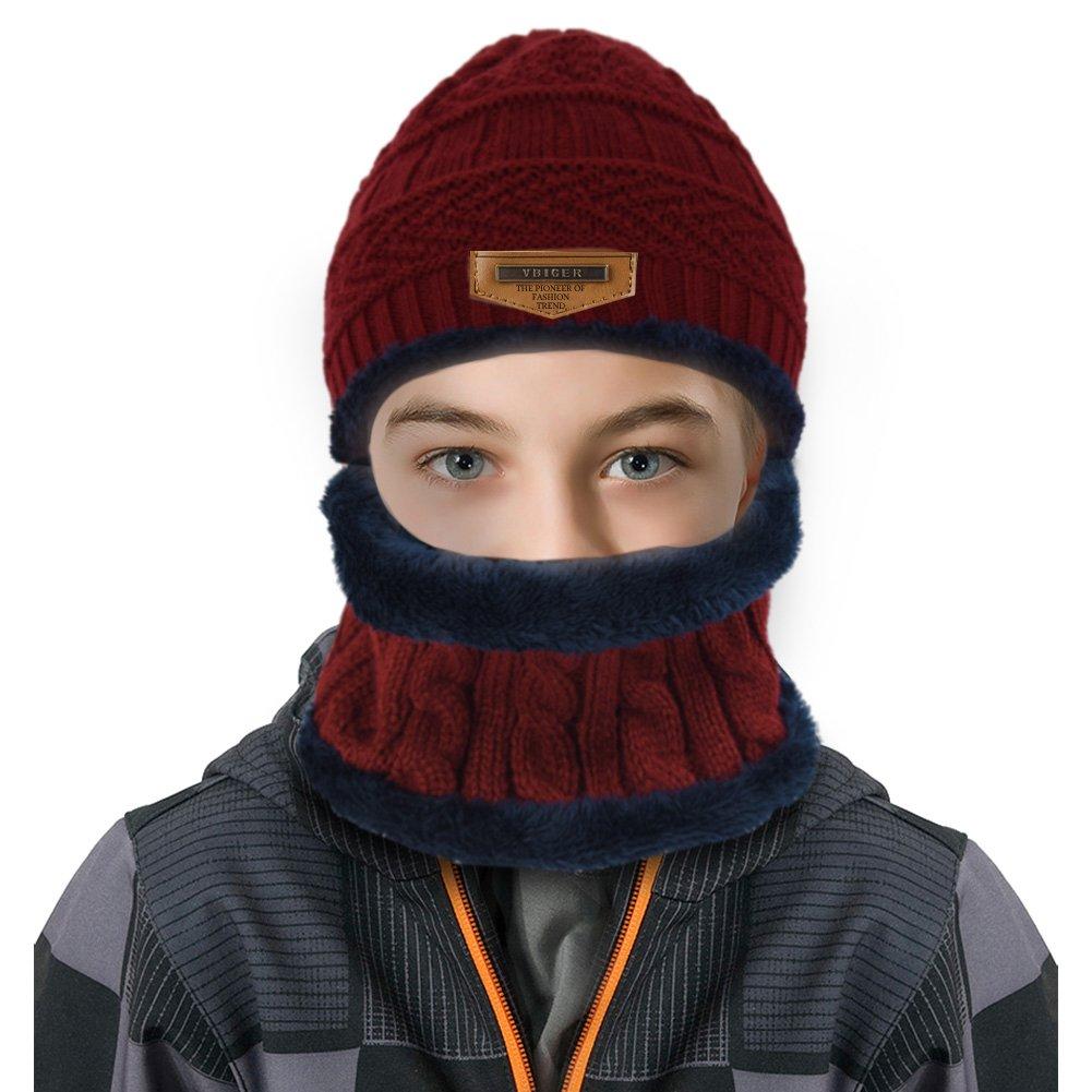 Vbiger Kinder Wintermütze Winterschal Beanie Kinder Strickmütze Beanie Mütze für Kinder mit Fleecefutter