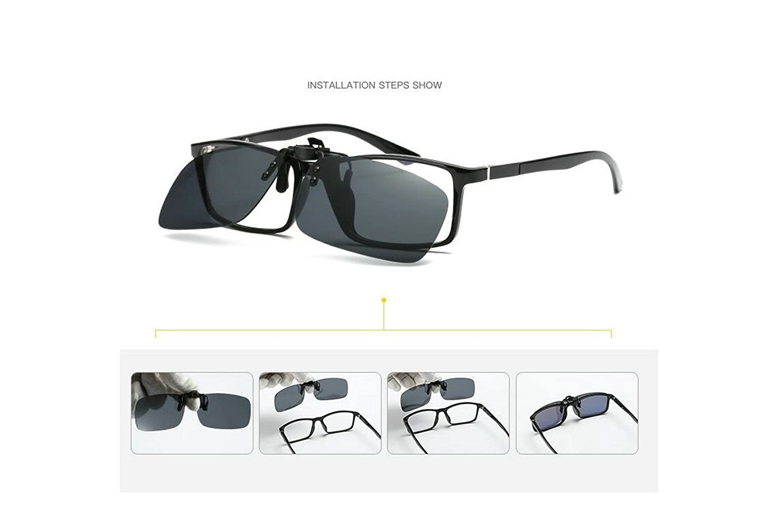 b12fff3d1a ... Polarized Clip-on Flip Up Metal Clip Rimless Sunglasses for  Prescription Glasses Outdoor Walking Driving Fishing Cycling (Night vision  Yellow + Black + ...