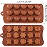 CCINEE Heart Silicone Chocolate Candy Mould+ Flowers Shape Cake Candy Mould,Silicone Chocolate Candy Mould Sets ,2 Packs