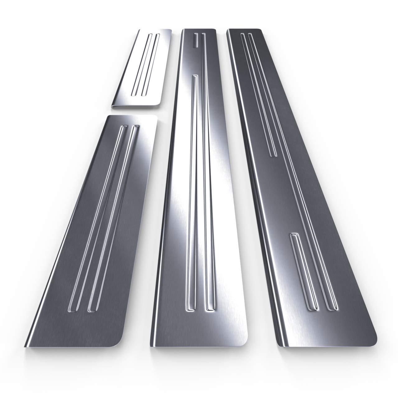 argento 5902538710435 4 pz Kit battitacco auto in accciaio opaco