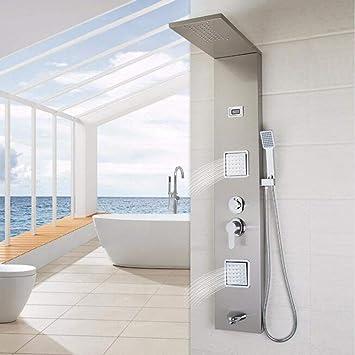 HUASHASHA Baño Moderno Columna de Ducha de Acero Inoxidable empuñadura de Pared + Ducha + Salida de bañera + Sistema de Masaje mampara de Ducha,5: Amazon.es: Hogar