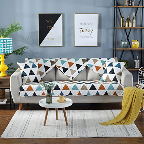 Lesic Polyester Cotton Sofa Slipcover Multicolor Lattice Couch Cover for Loveseat Sectional Sofa Twill Fabric No Fade Anti Slip 36 x 64 Inches ()