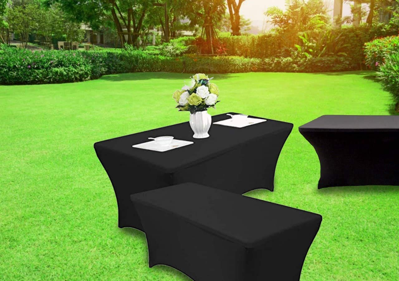 Set of 2 - Spandex Table Cover - Rectangular 6 Feet - Stretchable and Wrinkle Free - Elegant Look - Multi-Occasional Table Cloth - Kitchen Table, Dessert Table, Buffet Table by decor