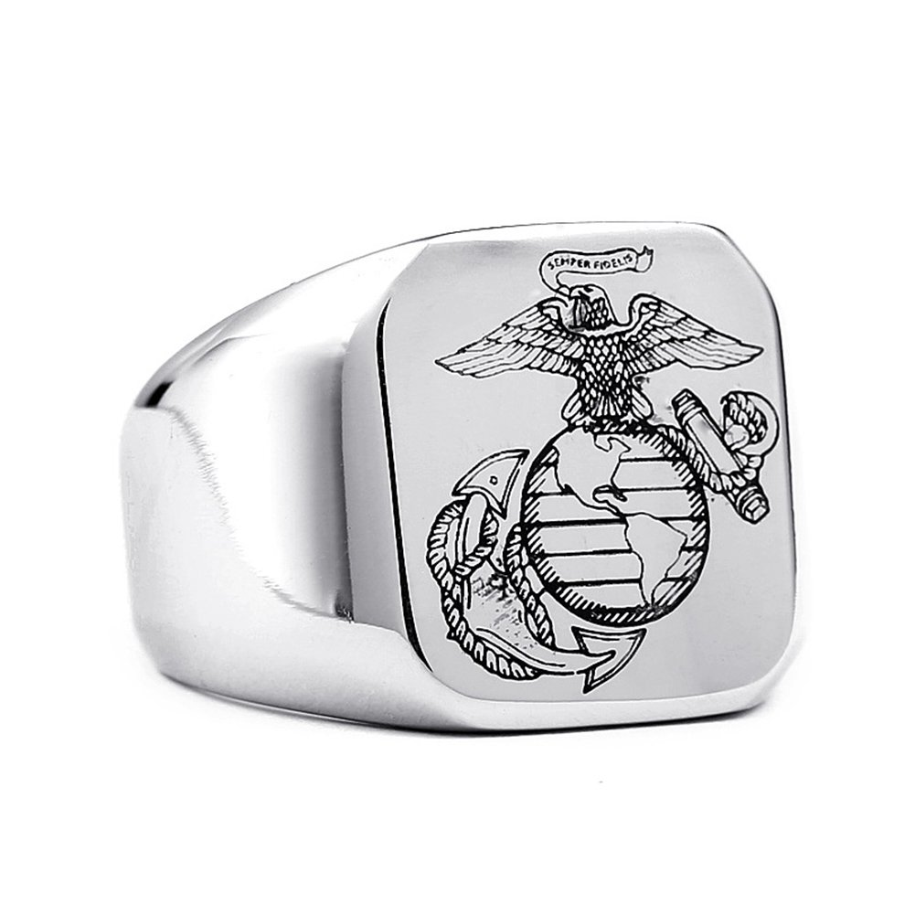 LILILEO Jewelry Stainless Steel US Marine Corps Ring For Men's Rings