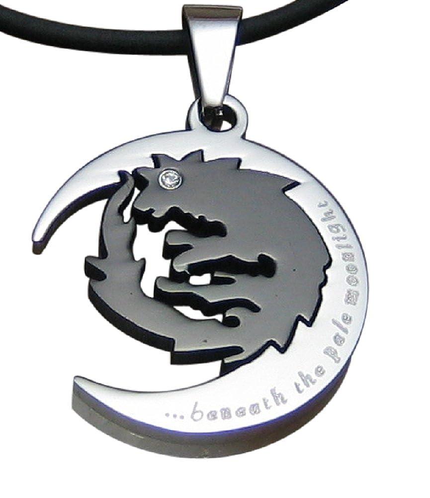 Edelstahl Halskette mit Anhänger Wolf Schwarz Mond Silber Halsband Herren Damen