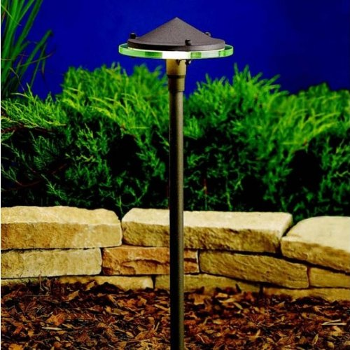 Kichler  15817AZT Landscape Brass LED Path Light with Clear Glass Diffuser, Textured Architectural Bronze -