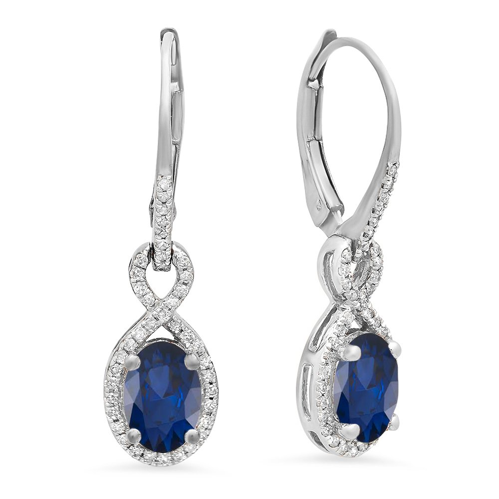 10K White Gold Oval Blue Sapphire & Round White Diamond Ladies Infinity Dangling Earrings