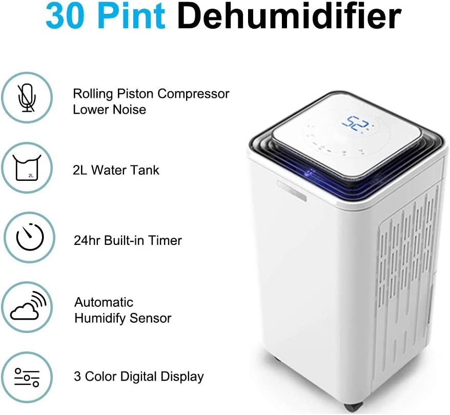 Eurgeen Portable Dehumidifier 4 Gallons 30 Pints Working Capacity Every Day, 2nd Generation, with 2L Water Tank, Perfect for Home, Bedroom, Basement, Living Room, Bathroom Up to 150-400 Sq Ft