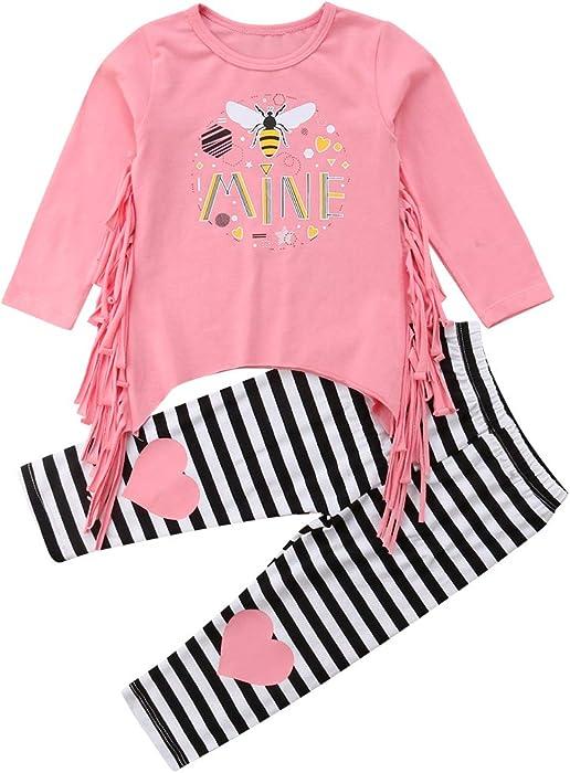 0733de1fd Amazon.com  2Pcs Outfit Set Toddler Kids Baby Girls Long Sleeve ...