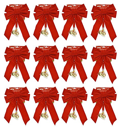 Black Duck Brand Set of 12 Red Velvet 20'' x 9'' Festive Holiday Christmas Bows with Bells - Perfect as Tree Ornaments - Tree Filler - Decorative Ornaments - Perfect for Preparing for The Holidays!