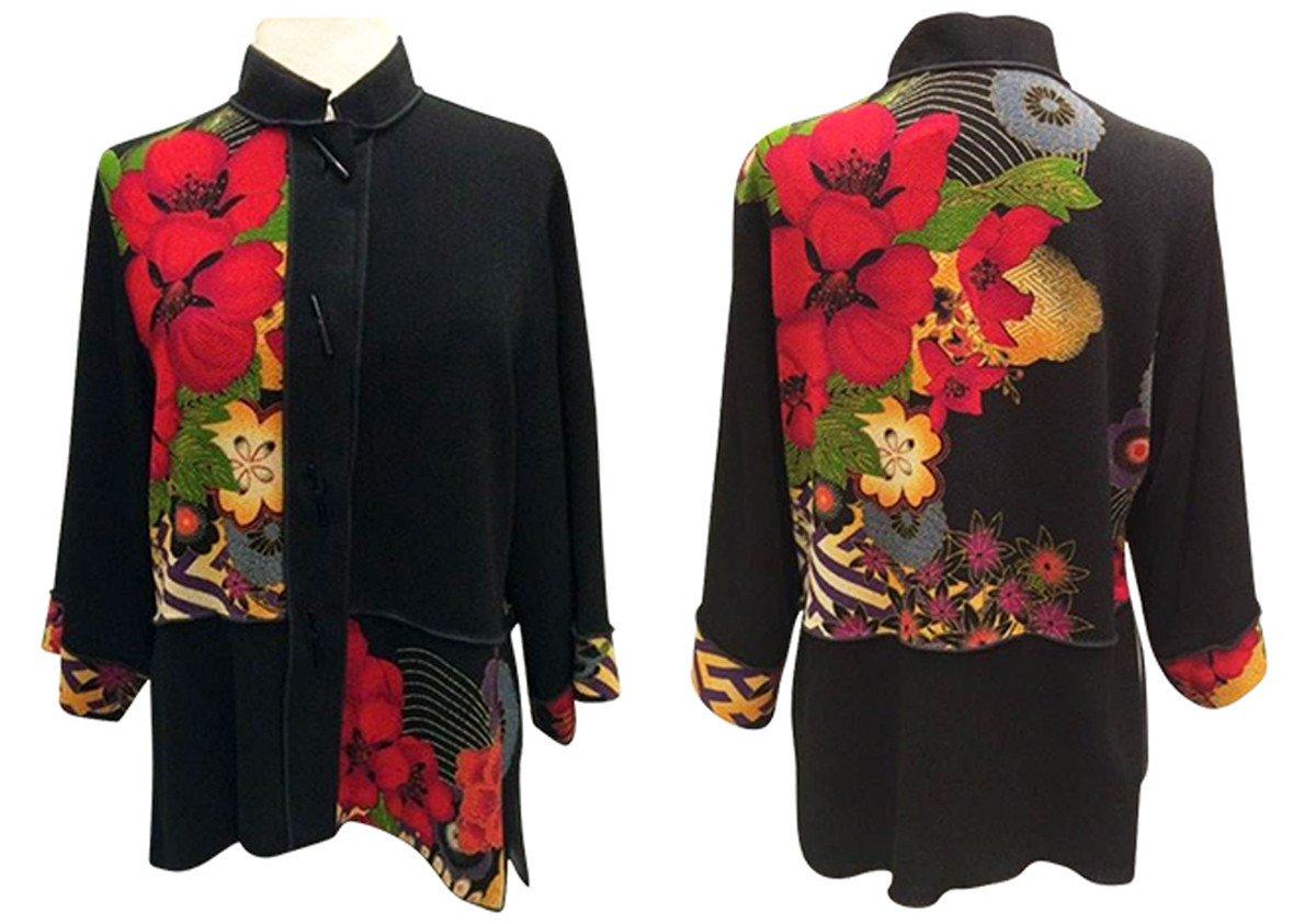 Moonlight - Asian Flowers Geo Floral Print, Mandarin Collar, Sharkbite Hem Top